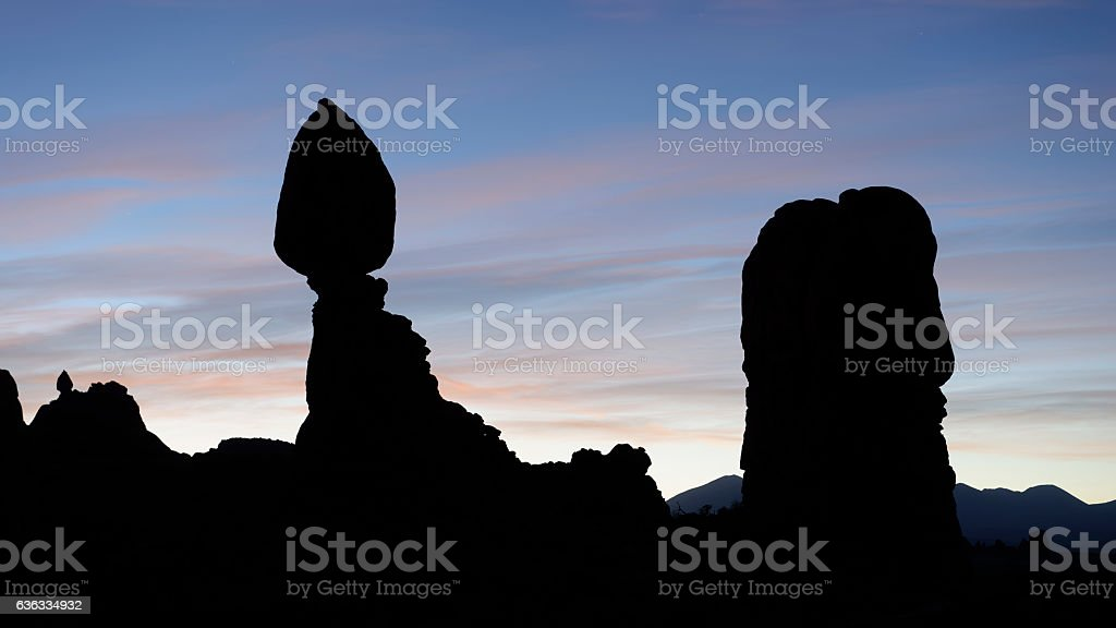 Dawn at Balanced Rock, Arches National Park stock photo