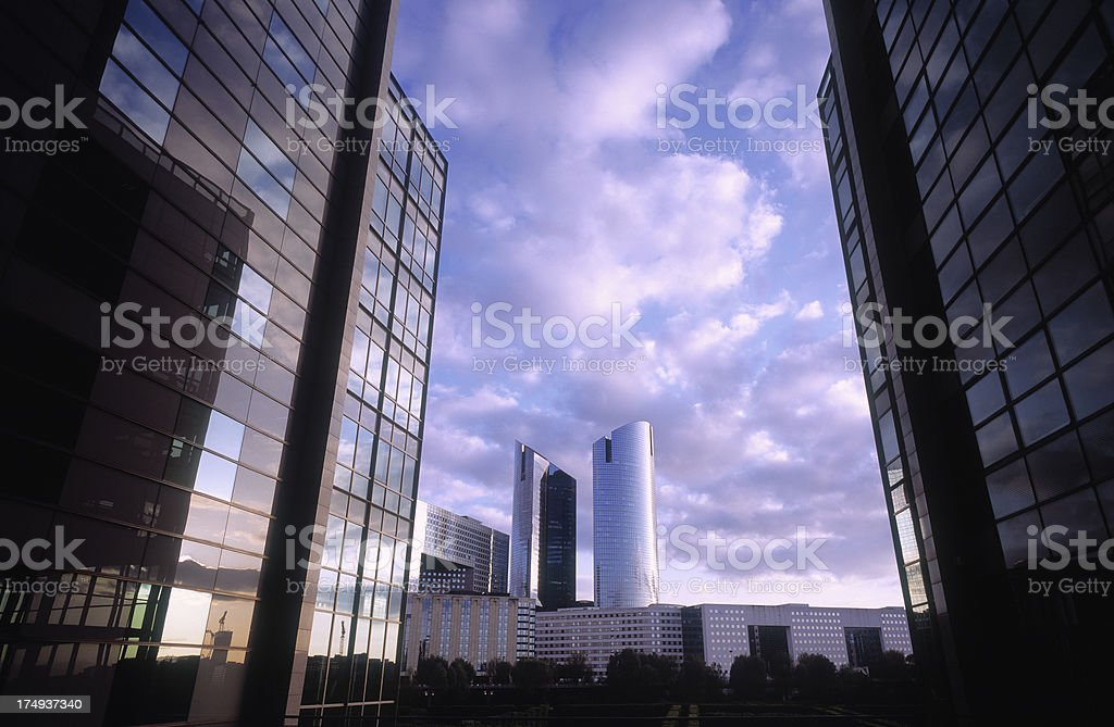 Dawn at business district in Paris, France royalty-free stock photo