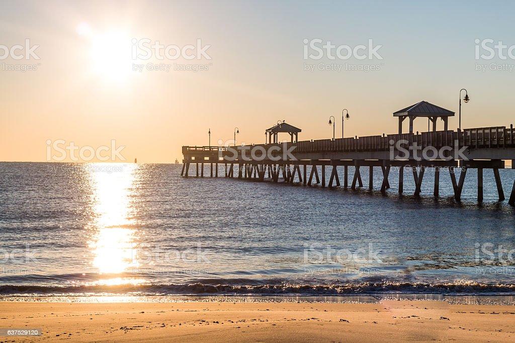 Dawn at Fishing Pier at Buckroe Beach stock photo
