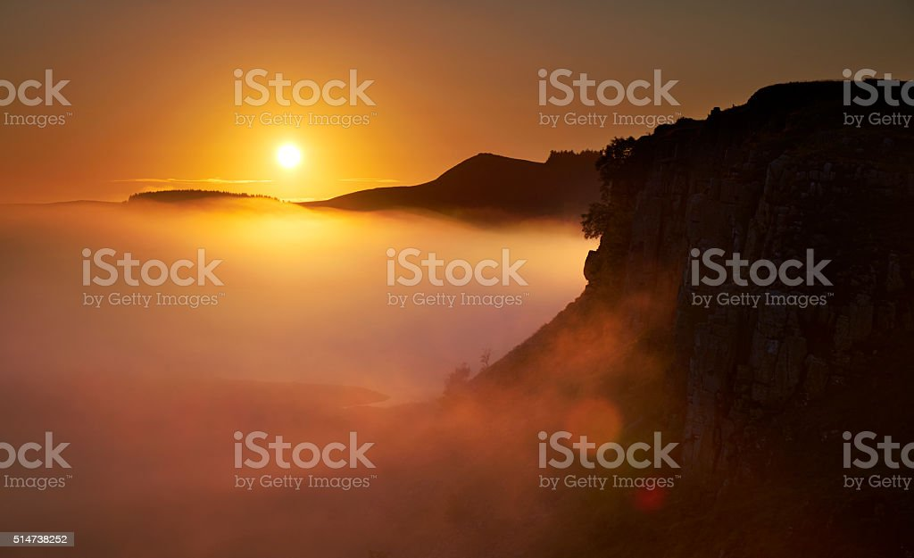Dawn At Hadrian's Wall stock photo