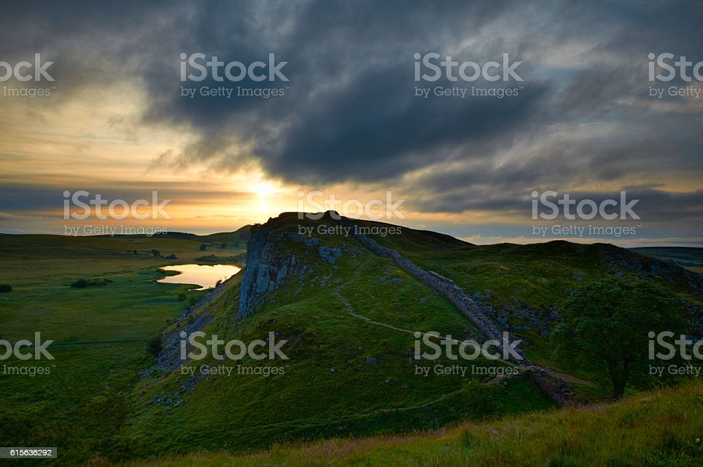 Dawn At Hadrian's Wall stock photo