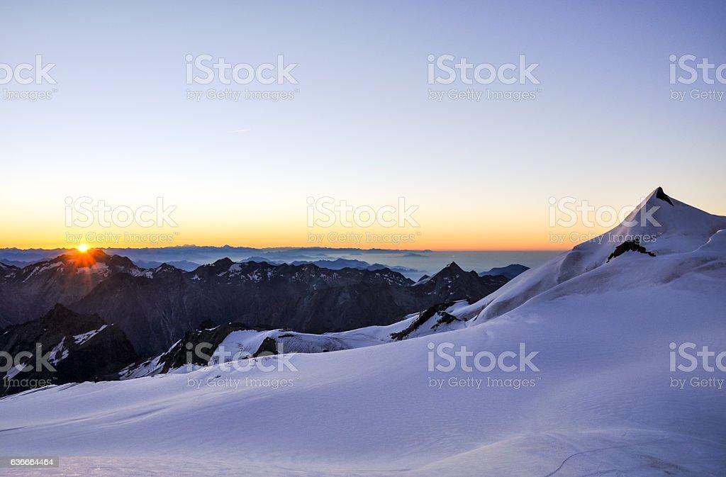 Dawn at high altitude in Swiss Wallis Alps - Switzerland stock photo