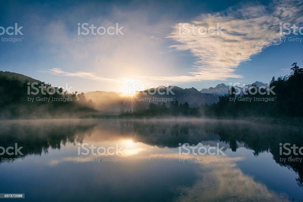 Dawn At Lake Matheson stock photo