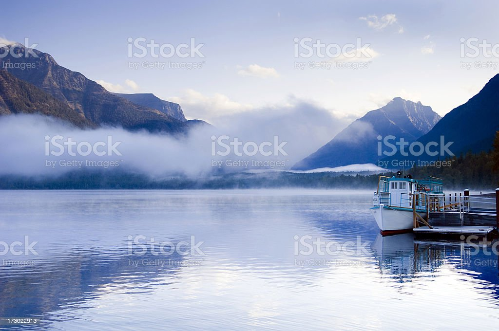 Dawn At Lake McDonald Glacier National Park stock photo
