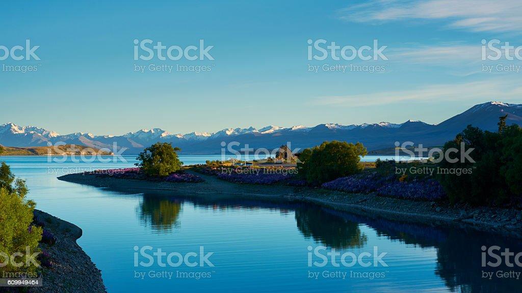 Dawn At Lake Tekapo stock photo