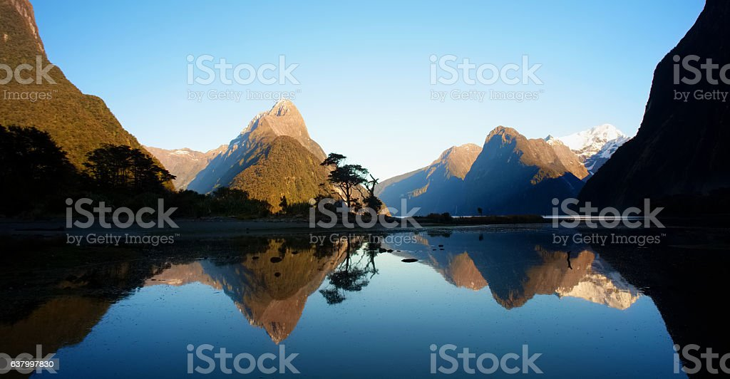 Dawn At Milford Sound In New Zealand stock photo