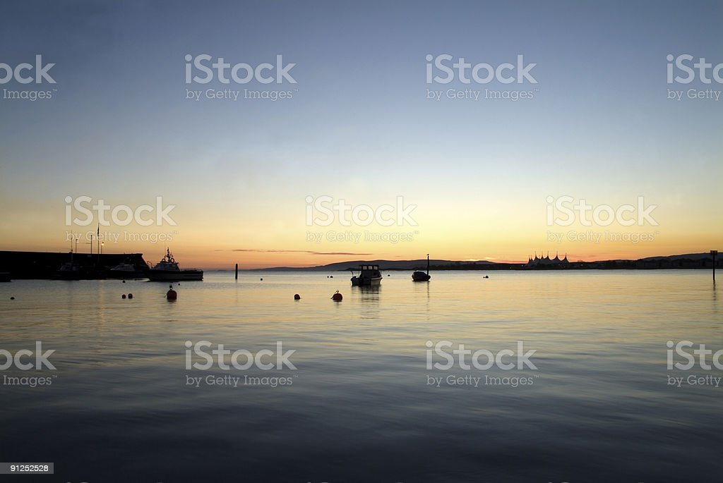 Dawn at Minehead Harbour, Somerset stock photo