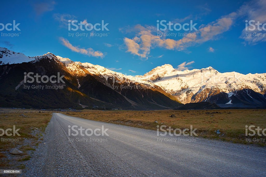 Dawn At Mt Cook National Park stock photo