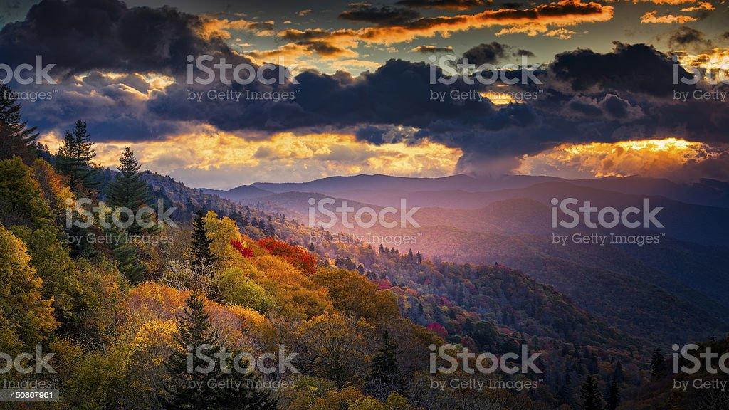 Dawn at Oconaluftee Overlook stock photo