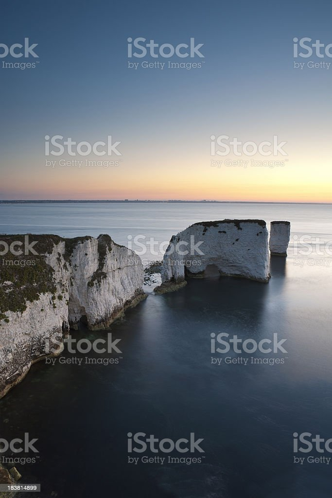 Dawn at Old Harry Rocks stock photo