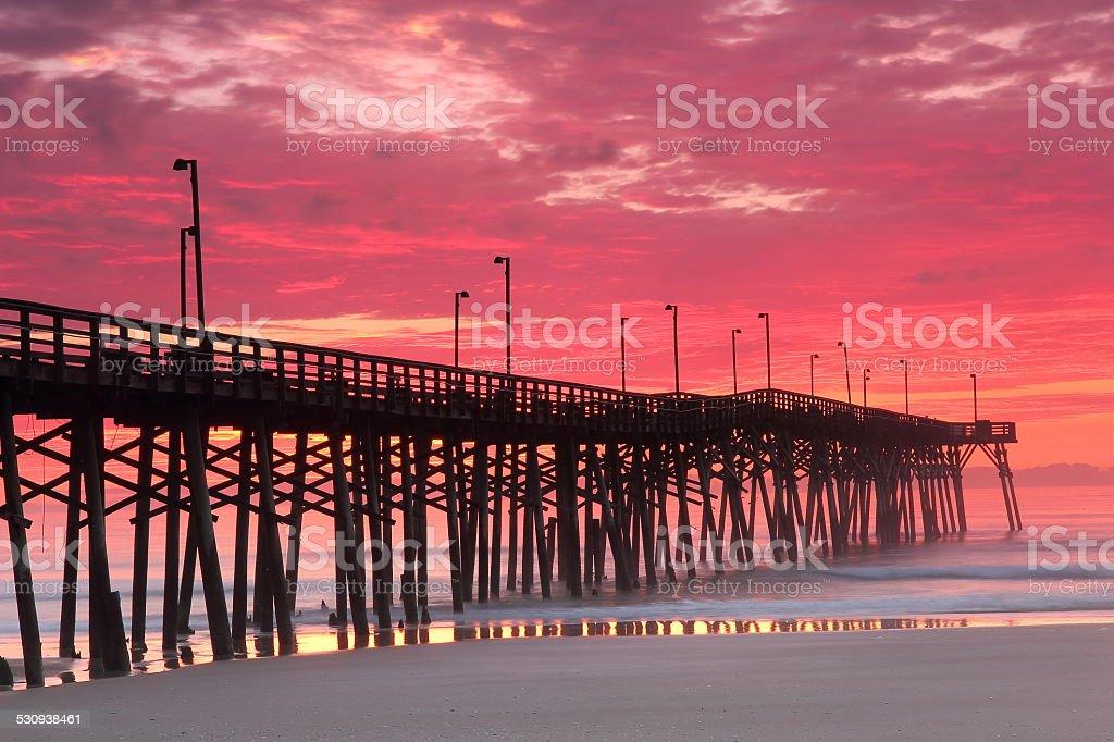 Dawn at Pier, Topsail Island, NC stock photo