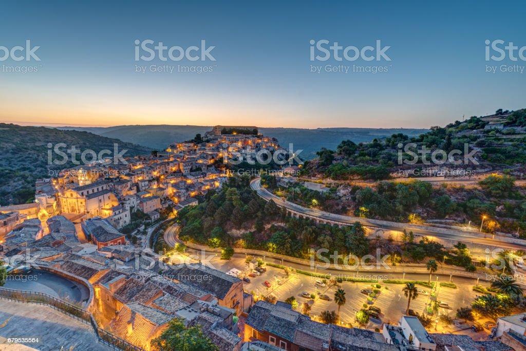 Dawn at Ragusa Ibla in Sicily stock photo