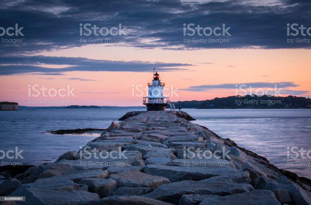 Dawn At Spring Point Ledge Lighthouse stock photo
