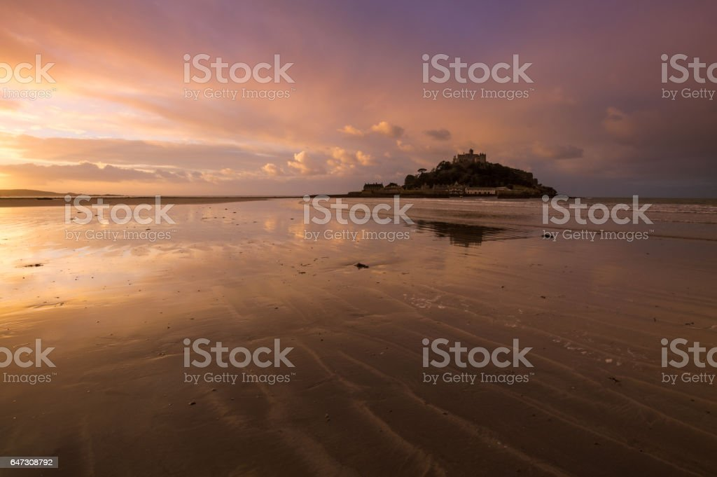 Dawn at St Michael's Mount, Marazion, Cornwall stock photo
