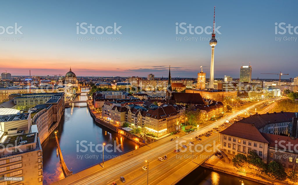 Dawn at the heart of Berlin stock photo