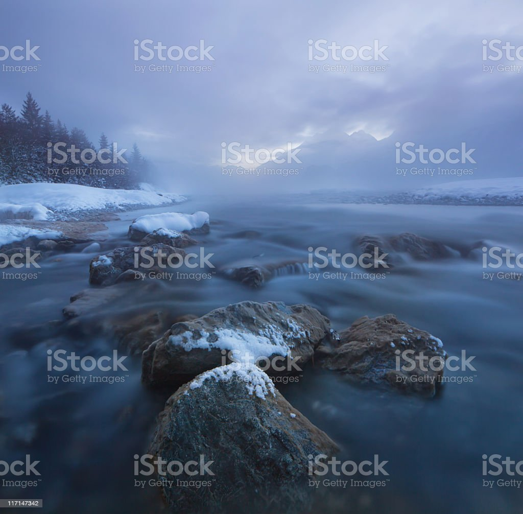 dawn at the lech river near forchach, tirol, austria stock photo