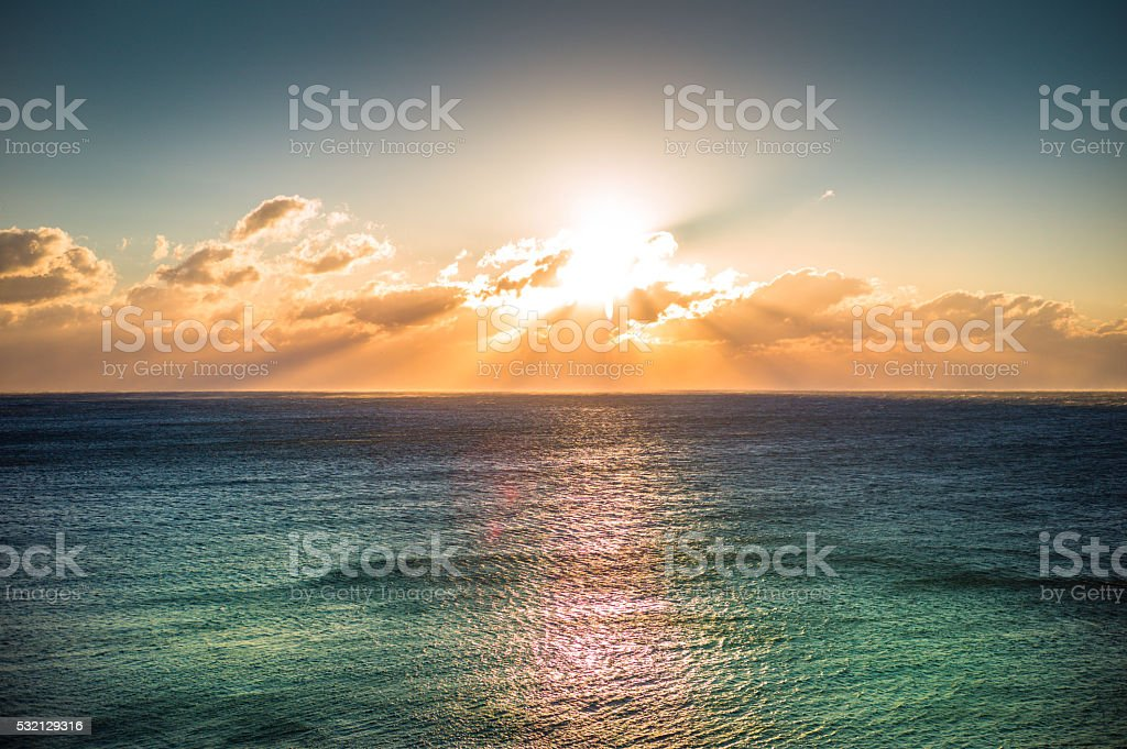 dawn at the Mediterranean Sea stock photo