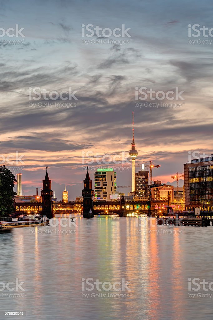 Dawn at the river Spree in Berlin stock photo