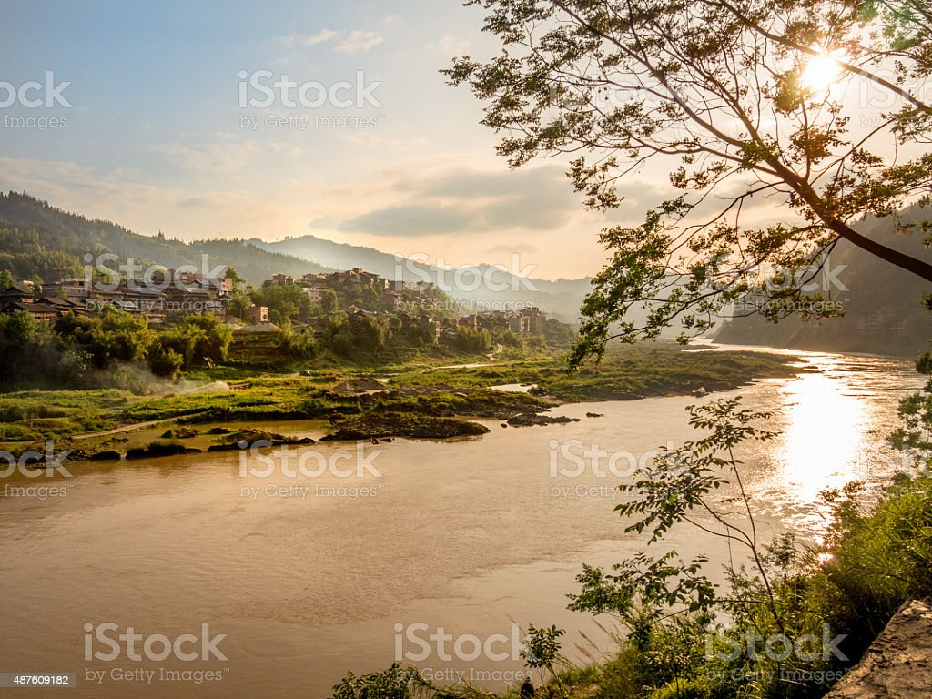 Dawn at the  Shijiang river, China, near  Sanjiang, Guilin, Guangxi stock photo