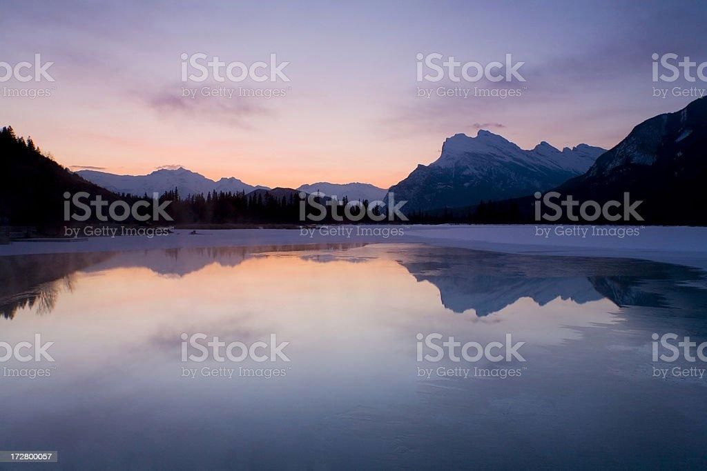 Dawn at Vermilion Lake, Banff National Park royalty-free stock photo