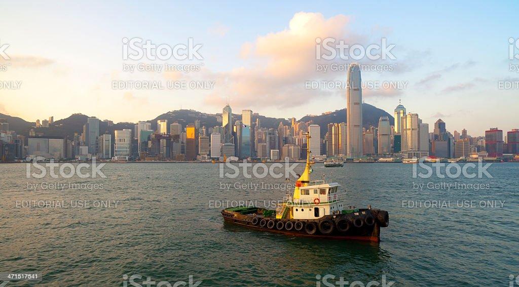 Dawn At Victoria Harbour, Hong Kong royalty-free stock photo