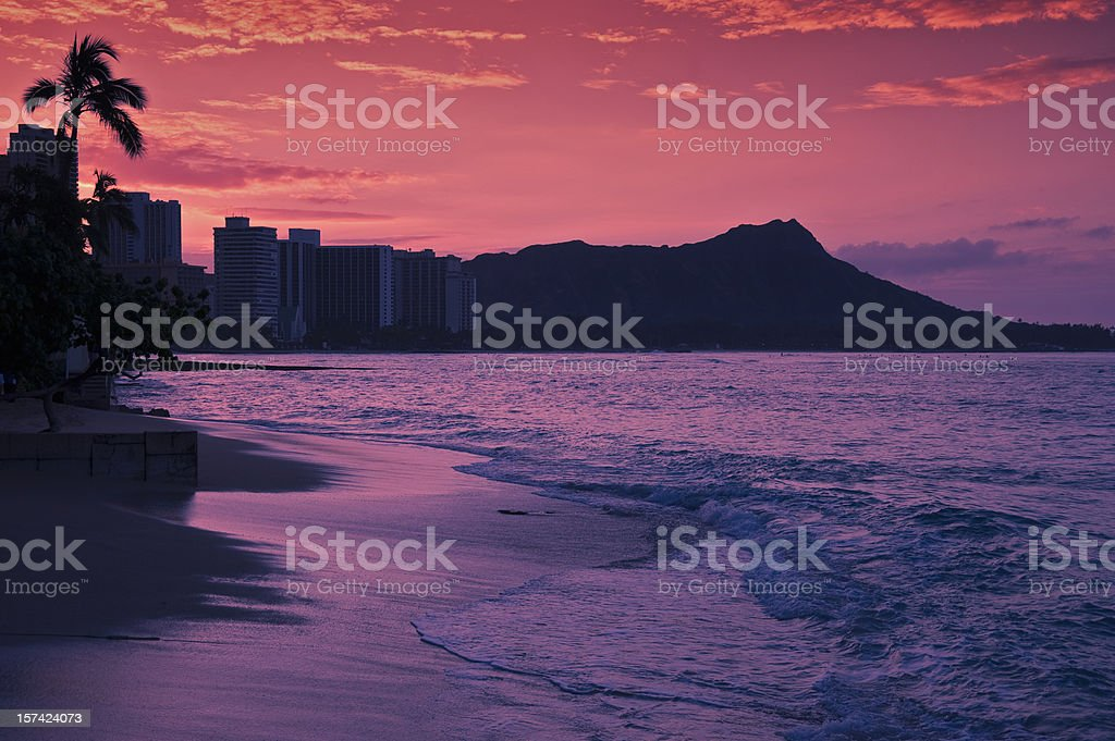 Dawn at Waikiki Beach stock photo