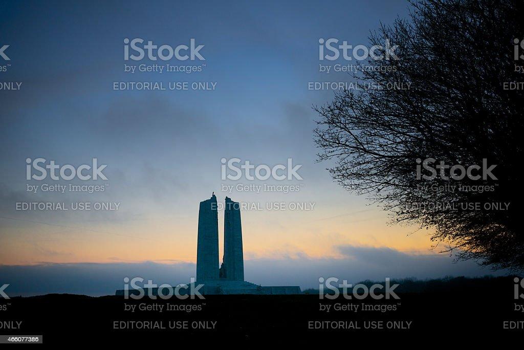 Dawn beaking, Canadian War Memorial, Vimy Ridge stock photo