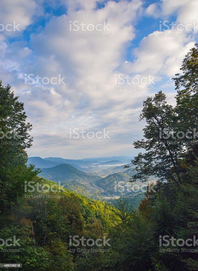 Dawn Breaks in Appalachian Valley stock photo
