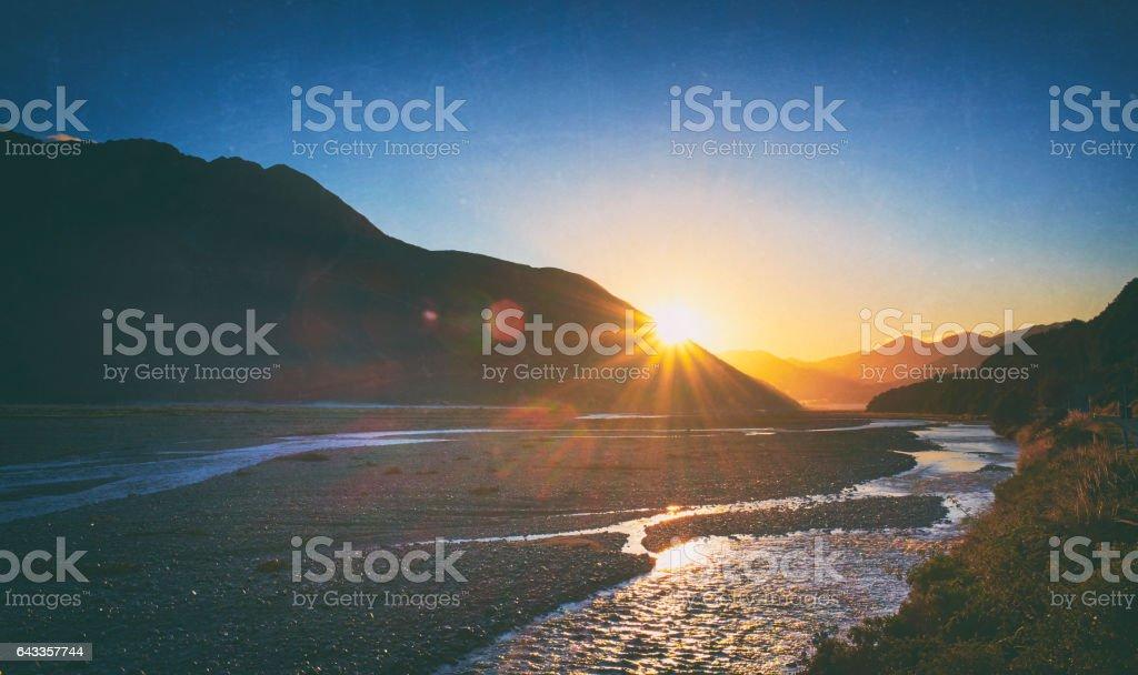Dawn Breaks In Arthur's Pass, New Zealand stock photo