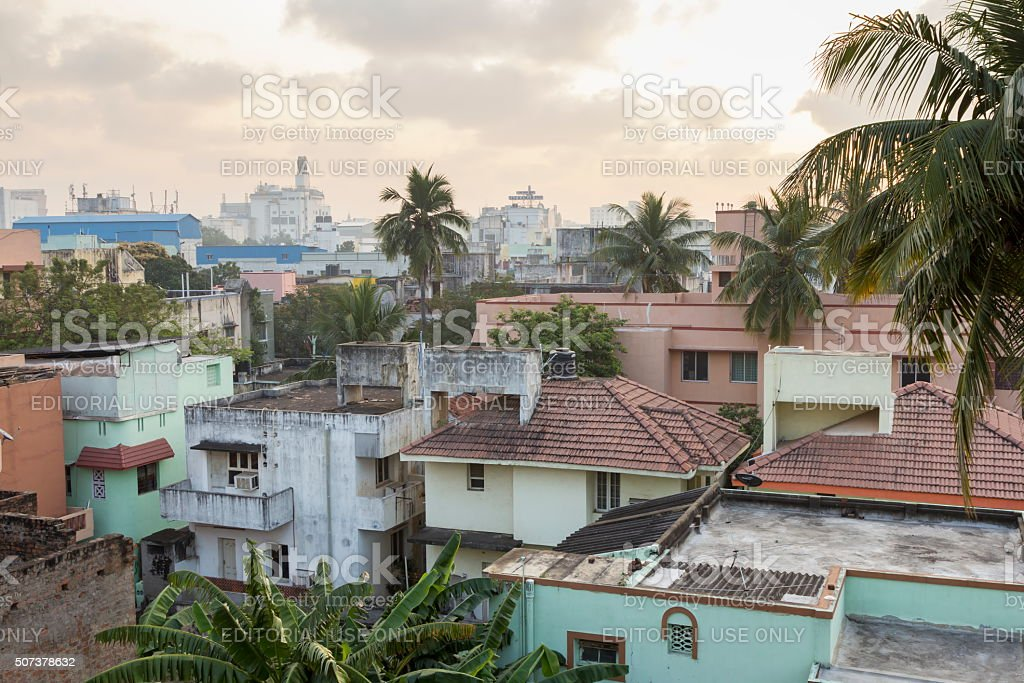 Dawn breaks over Chennai, India stock photo