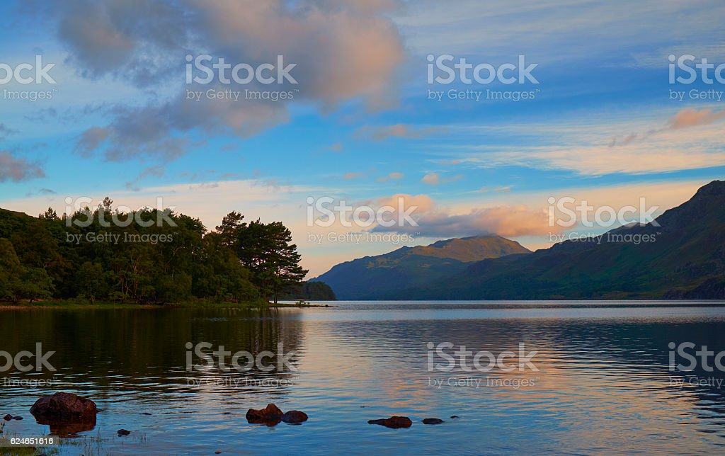 Dawn Breaks Over Loch Maree In The Scottish Highlands stock photo
