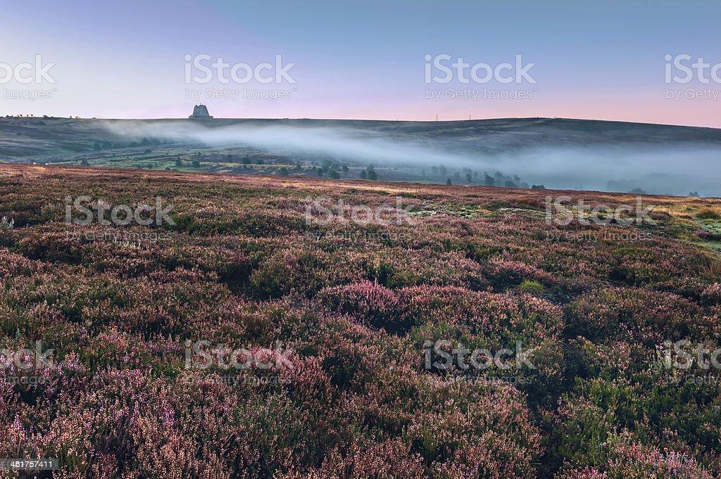 Dawn breaks over the North York Moors, Yorkshire, UK. stock photo