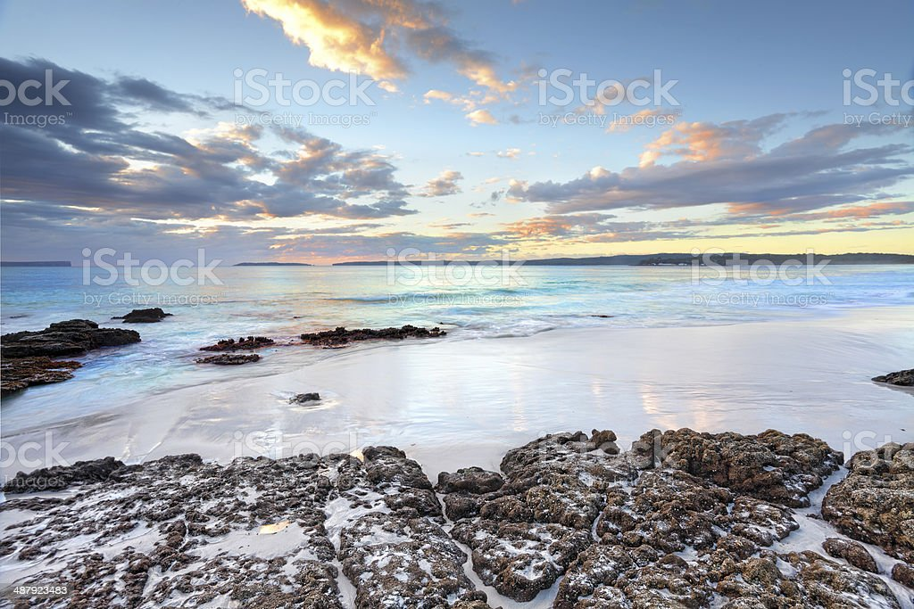 Dawn colours at Jervis Bay NSW Australia stock photo