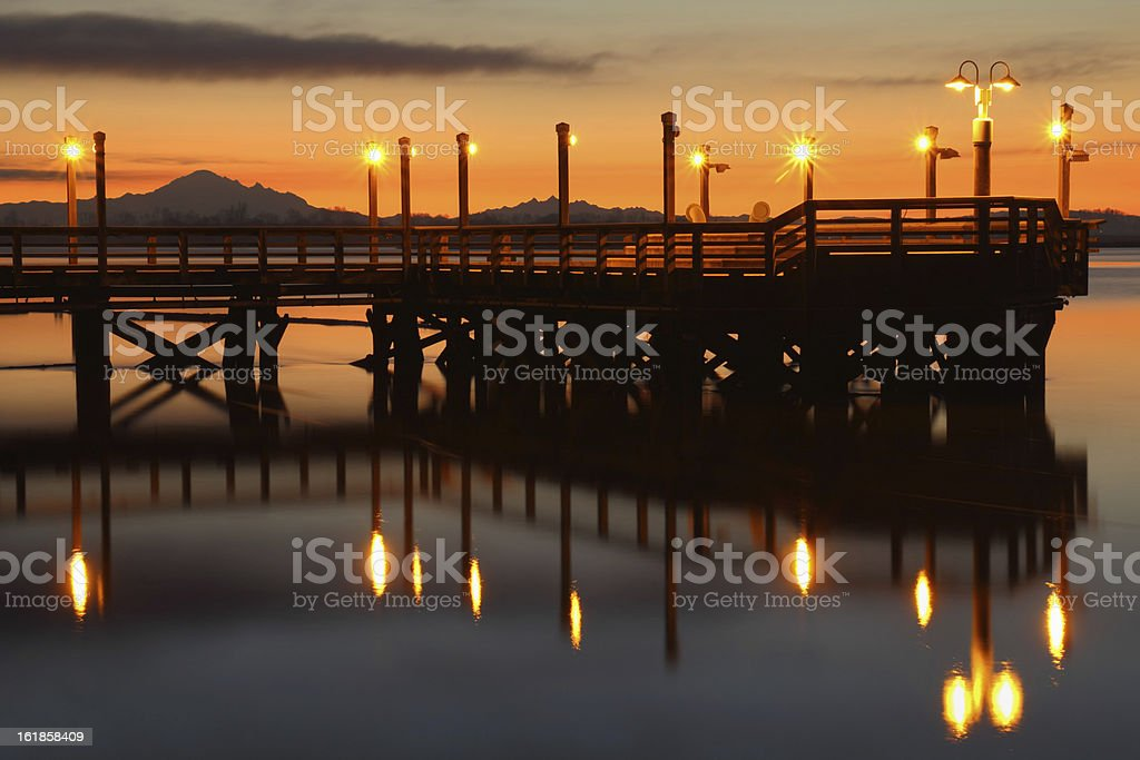 Dawn Fishing Pier, Fraser River stock photo