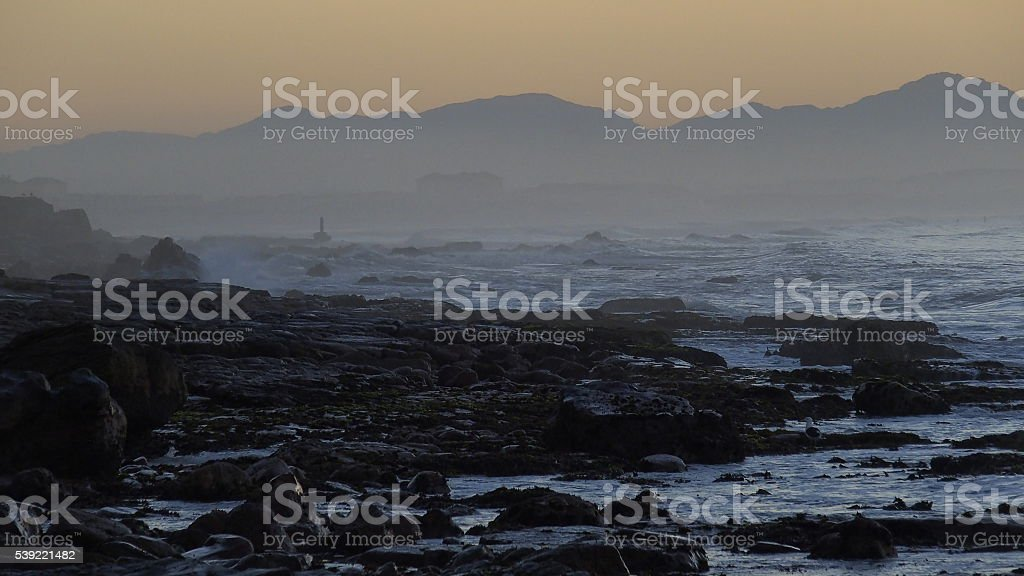 Dawn from St James, Cape Town, showing early morning Muizenberg stock photo