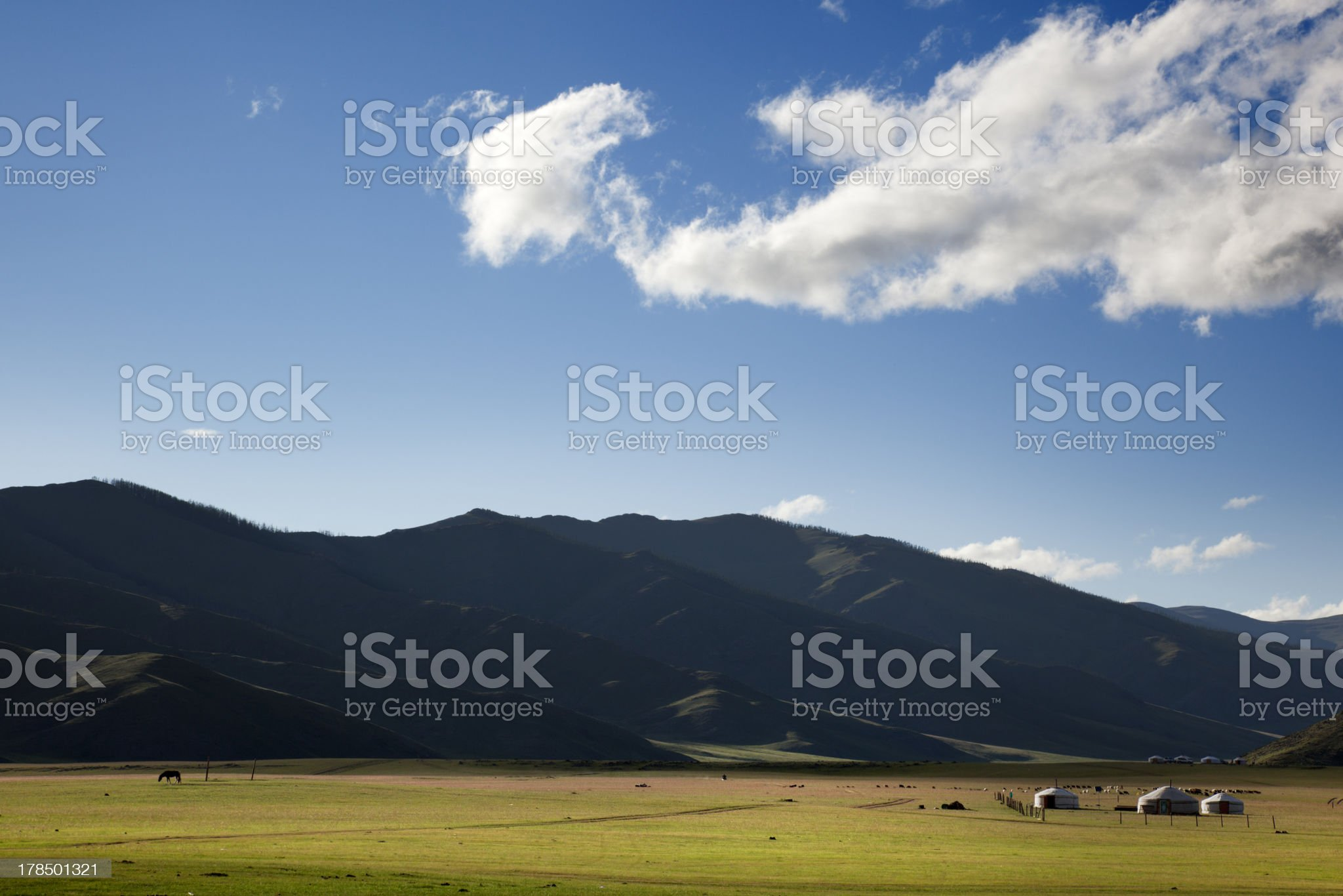Dawn in a Ger. Mongolia royalty-free stock photo