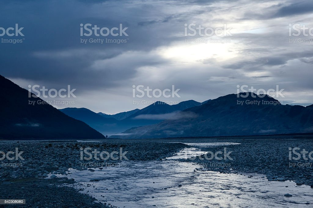 Dawn In Arthur's Pass National Park In New Zealand stock photo