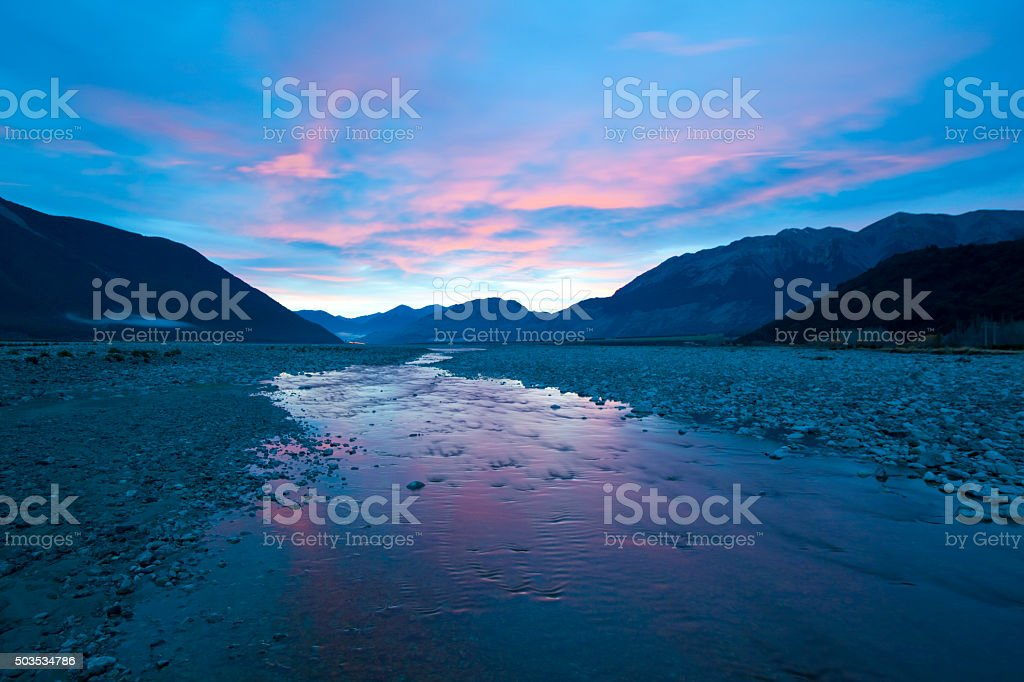 Dawn In Arthur's Pass, New Zealand stock photo