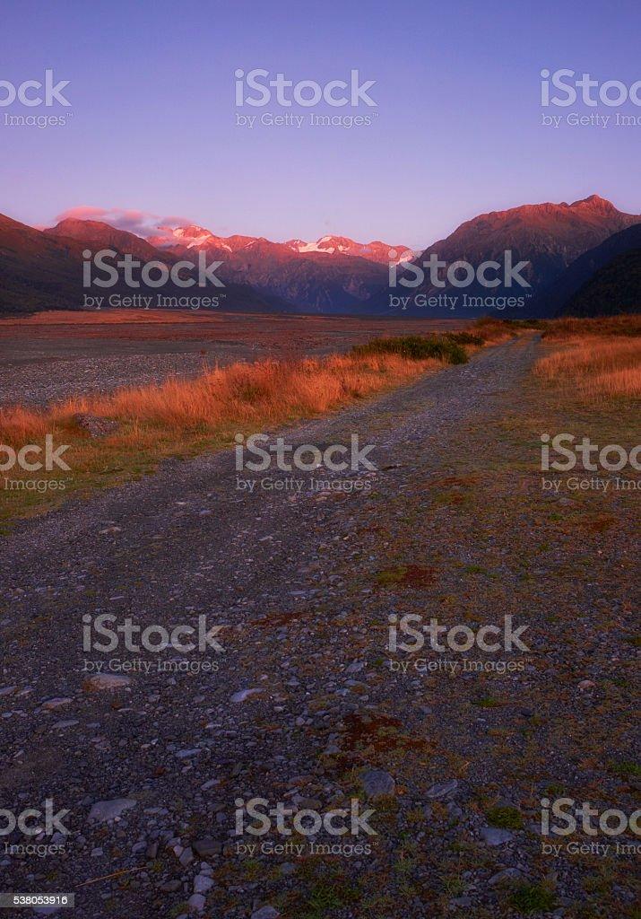 Dawn In Arthur's Pass, New Zealand stock photo