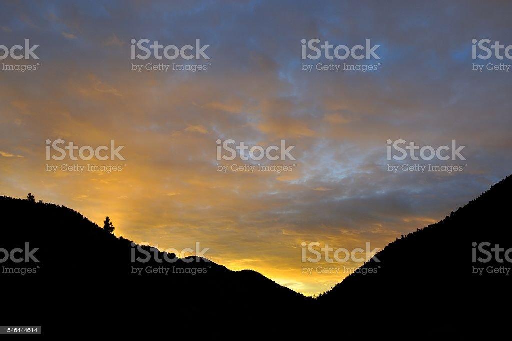 Dawn in Colorado Mountains stock photo