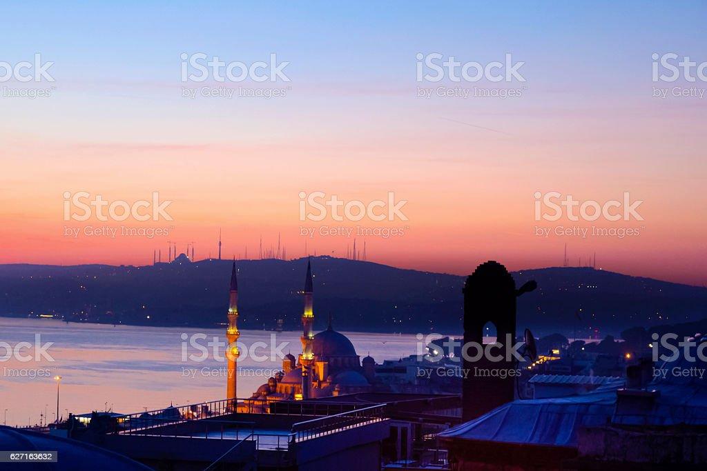 Dawn in Istanbul, Bosphorus Istanbul Landscape stock photo