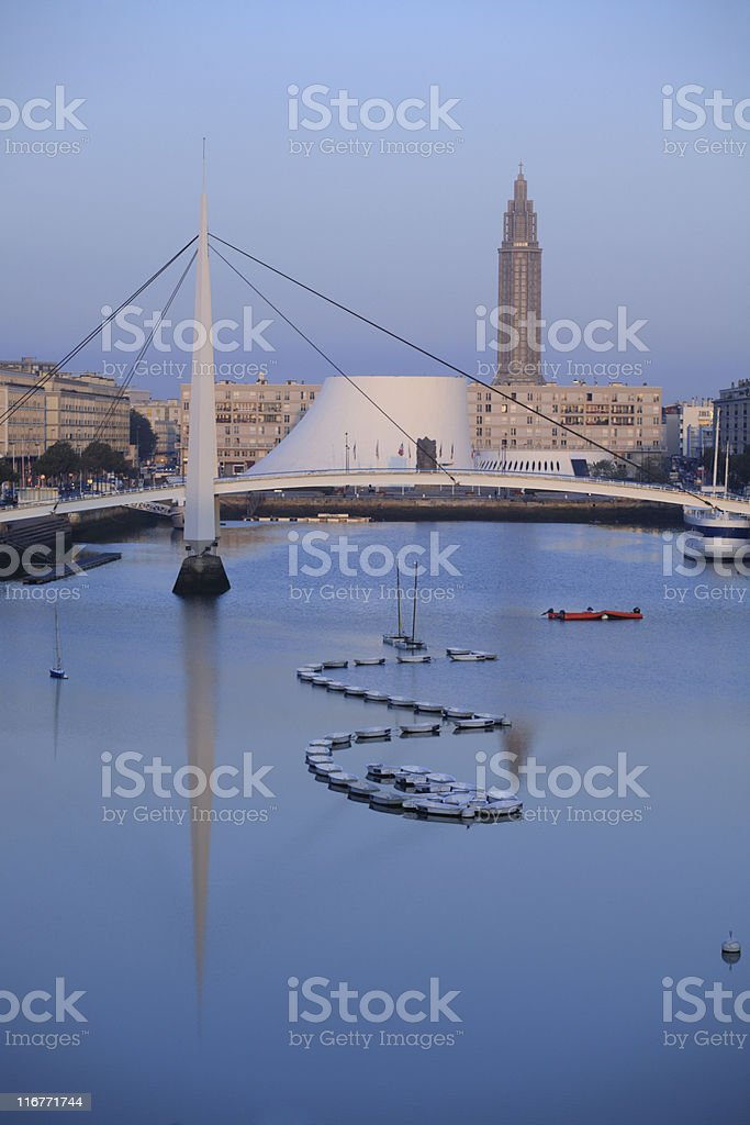 Dawn in Le Havre, France stock photo