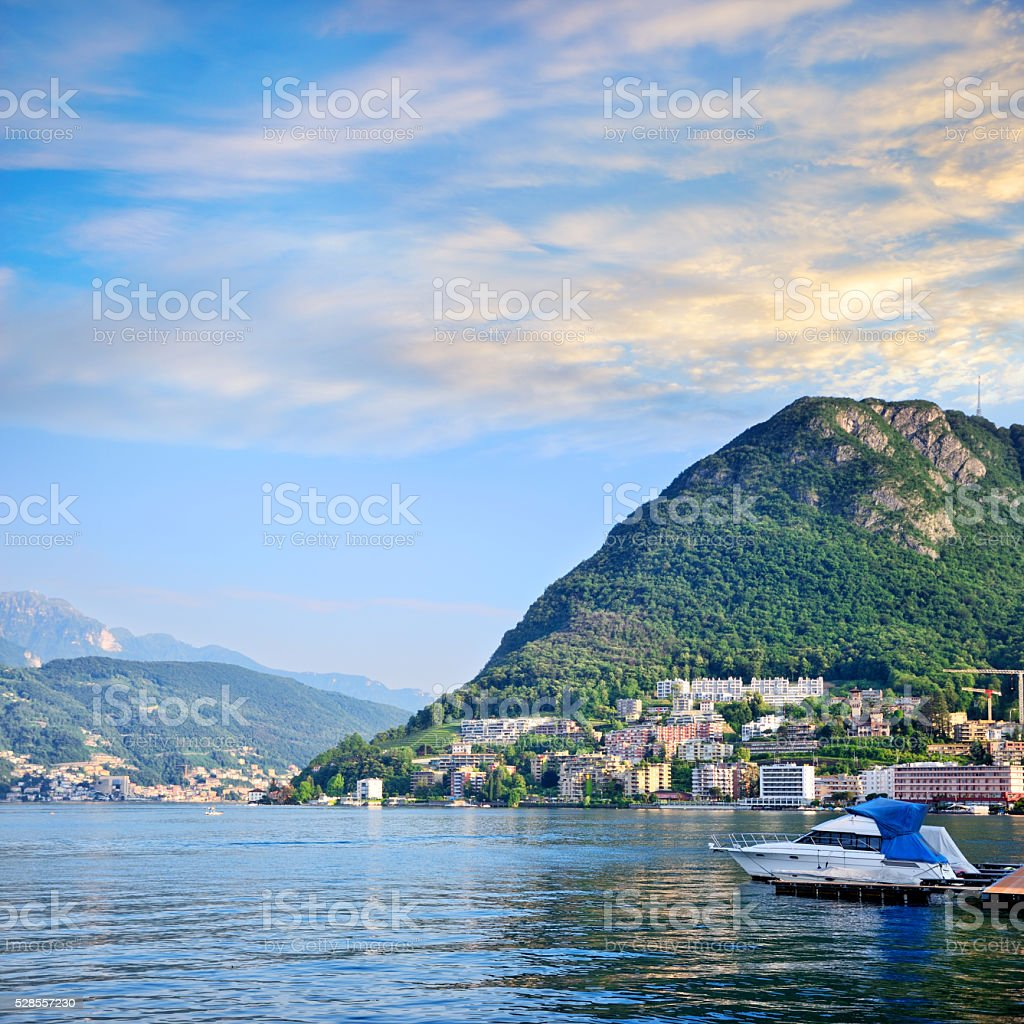 Dawn in Lugano, Switzerland stock photo