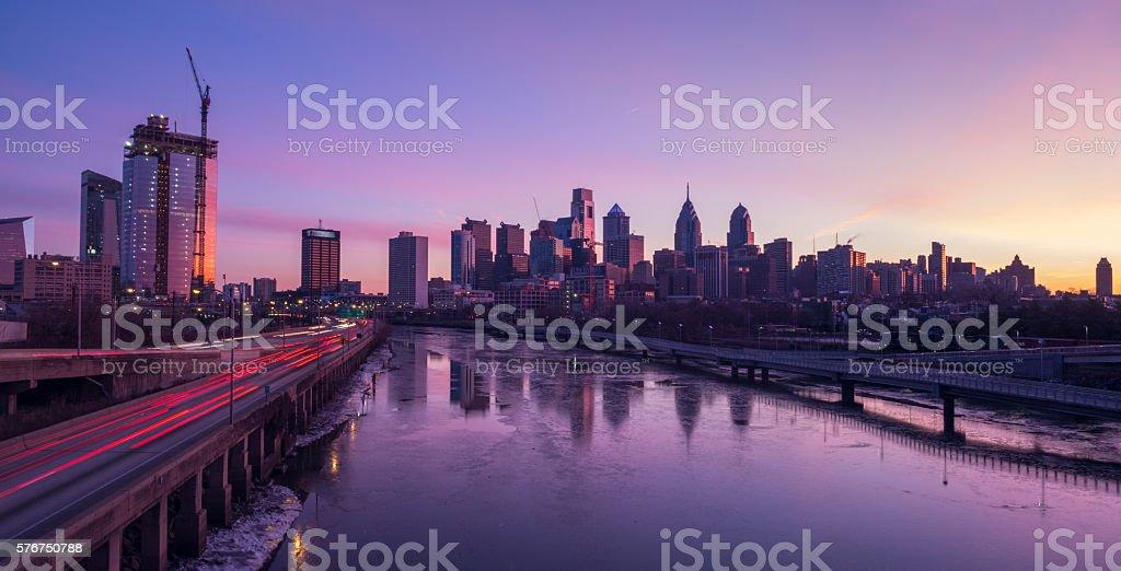 Dawn in Philadelphia stock photo