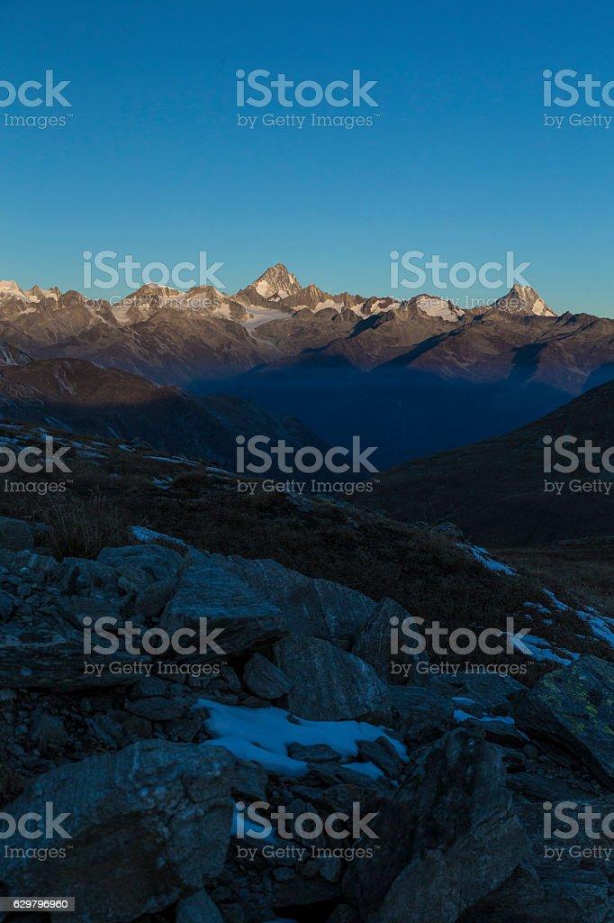 Dawn in Swiss mountains stock photo