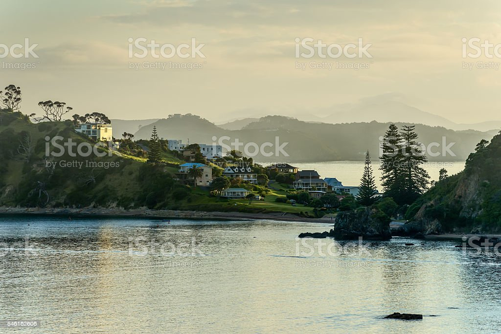 Dawn in the Bay of Islands, New Zealand stock photo