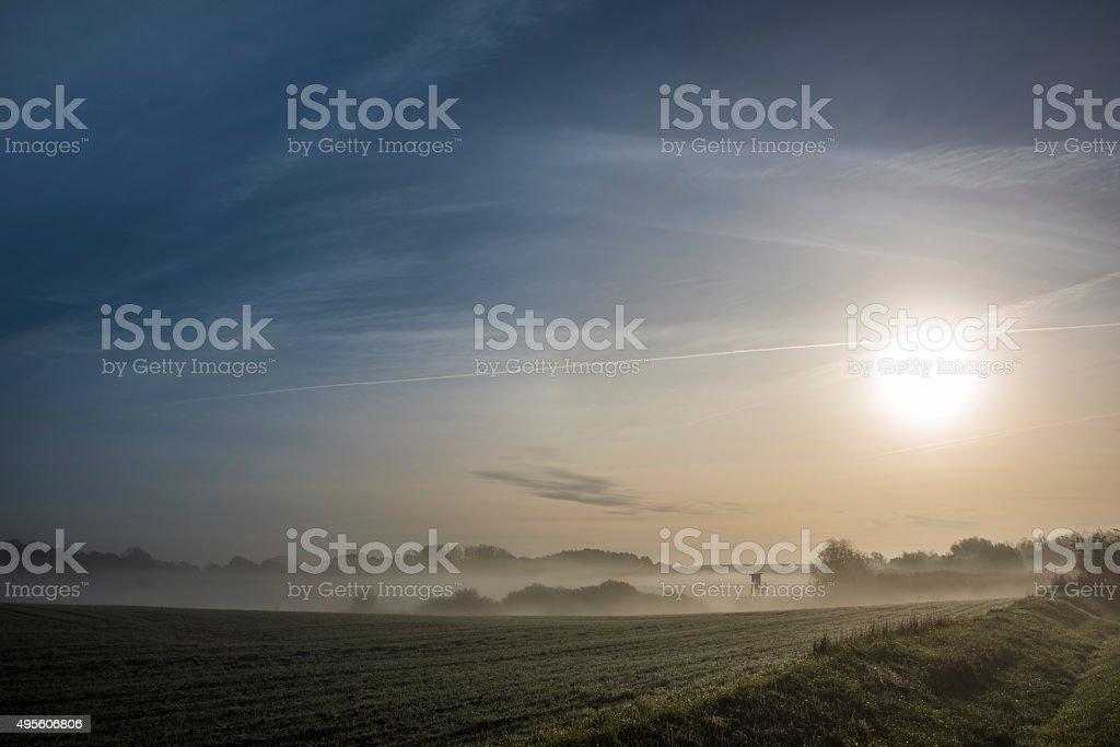 Dawn in the Uckermark stock photo