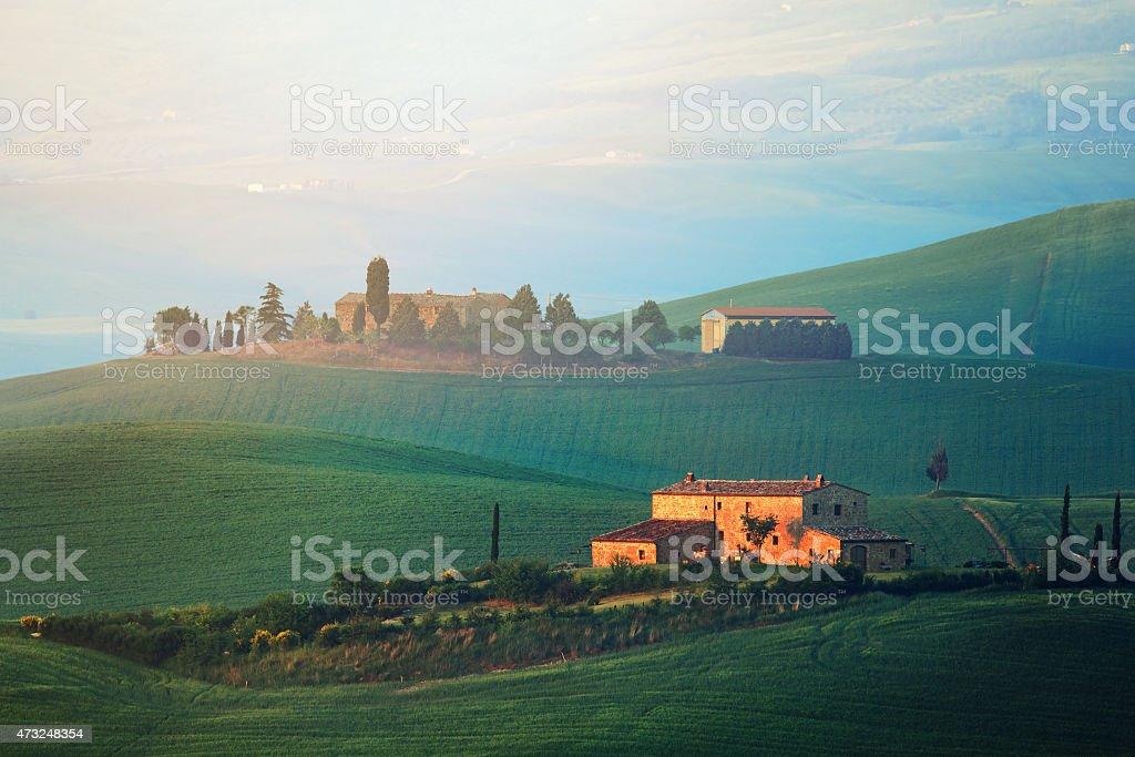 Dawn in Tuscany stock photo