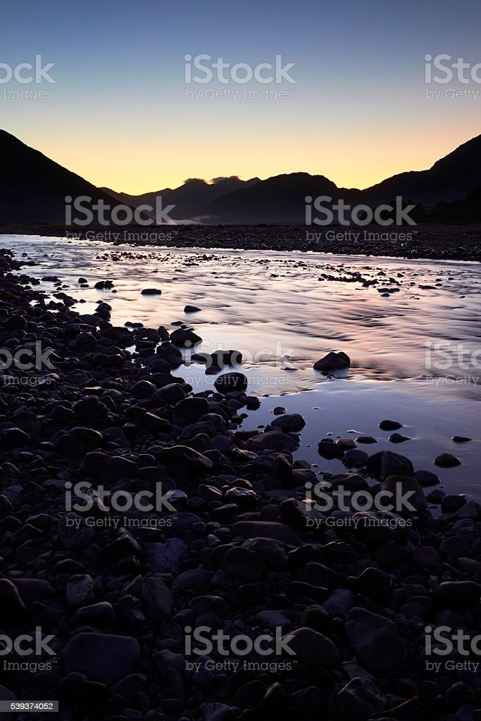Dawn Light In Arthur's Pass, New Zealand stock photo