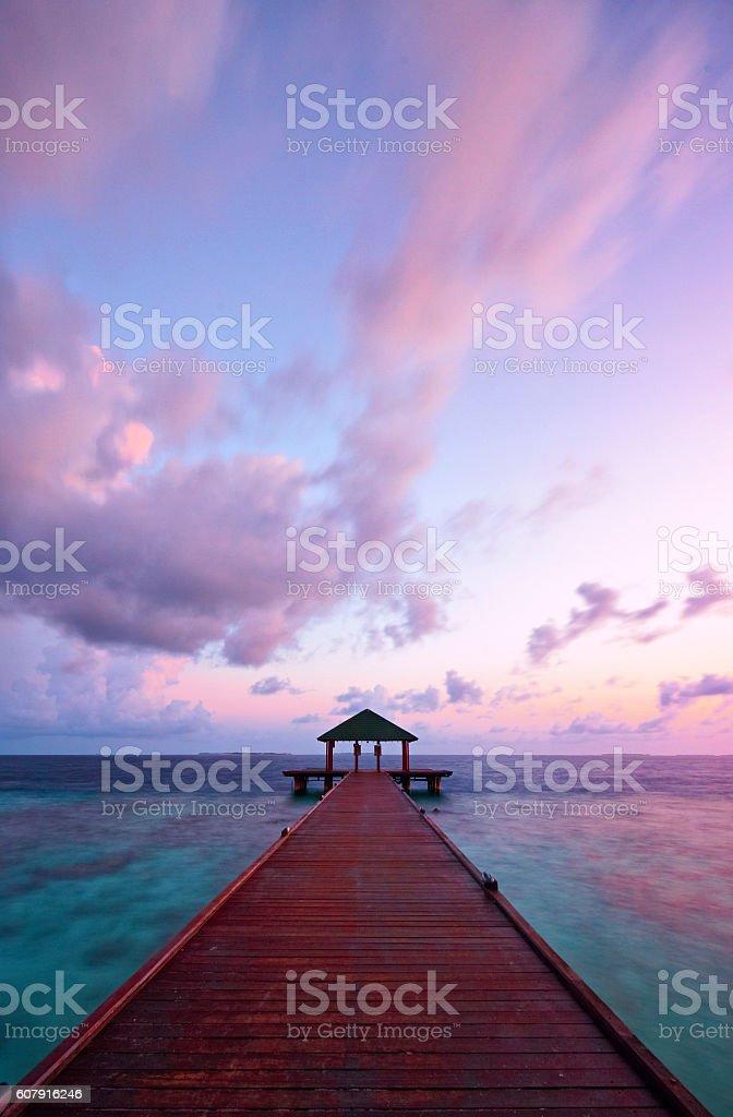 Dawn Light Over The Maldives stock photo